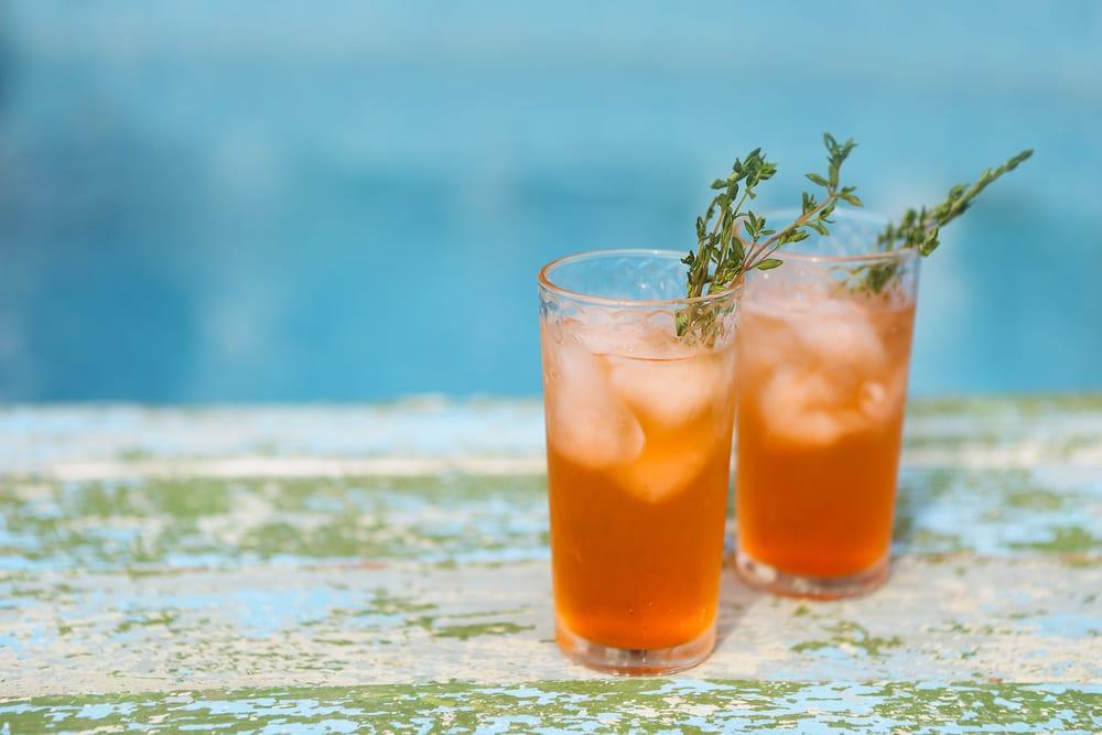 glasses of blood orange cocktails