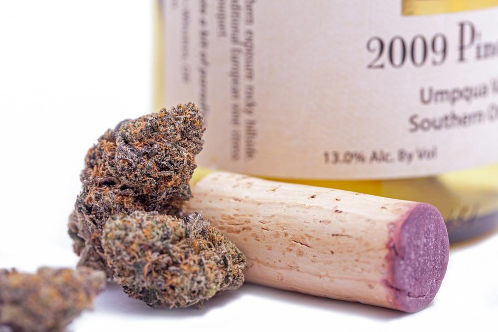 marijuana buds with wine bottle